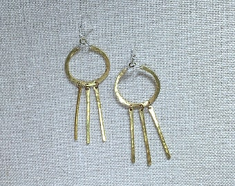 OLIVE and GREEN Dreamcatcher Chandelier Circle Hoop Handmade Geometric Earrings Hammered Gold-tone Metal and Ear Wire Unique Hand-made