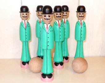 Bowling alley: wooden skittles set Gentlemen. Wooden toys - Traditional play - Handmade - Play and collectionism