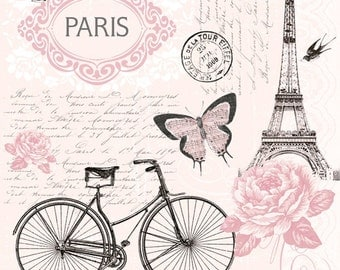 Decoupage napkins (x4) - Paris vintage magic