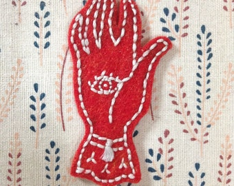 Protection Hand Patch - Hand embroidered felt patch