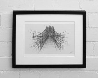 Brooklyn Bridge Print, New York Art Print, Wall Art Print, Illustration Print, Giclee Print, New York Bridges, Skyline, Drawing Print