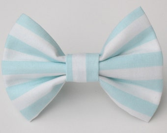 Baby Blue and White Striped Bow Tie-Medium