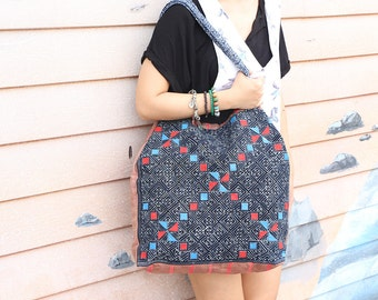 Tribal Batik Shoulder Bag Flat Strap With Hemp Fabric
