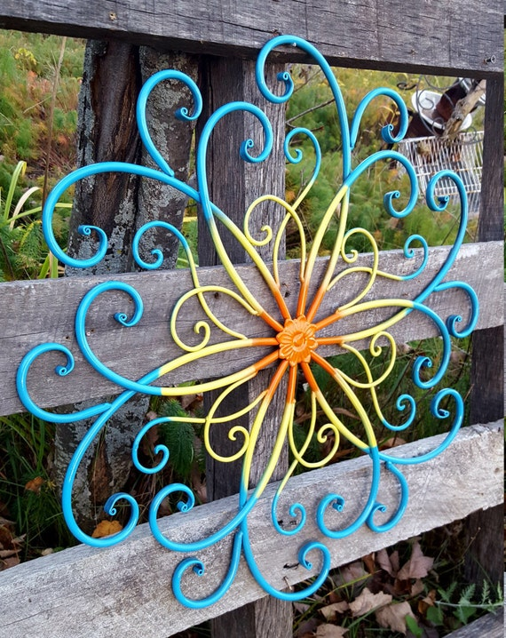 Wrought Iron Wall Decor Flowers : Large metal wall art wrought iron by ashlyncolelee