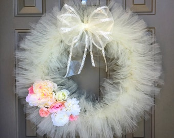 Ivory Tutu Wreath with Flowers