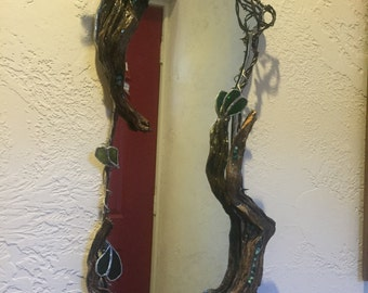 driftwood mirror with turquoise inlay and barbed wire and stained glass