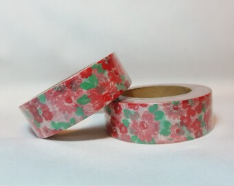 Washi Tape/ Craft Tape- Floral Red Flowers Green Leaves