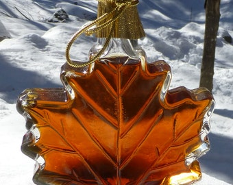 250 ml of Pure Maple Syrup in Glass Maple Leaf