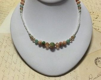 Beaded Handmade Necklace w/Peach-Green Glass & Crystal