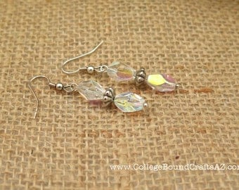 Clear AB Crystal Glass & Silver Earrings -- FREE SHIPPING!!!