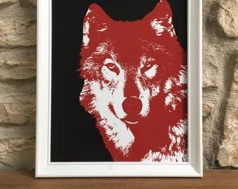 NC State Wolfpack Print: Wolf, North Carolina State, Red, Black, College Basketball, Mascot, Sports Art, Raleigh, RDU, Tobacco Road