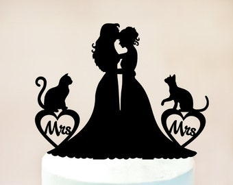 Lesbian cake topper with cat,Lesbian with cats,Lesbian wedding cake topper,mrs and mrs cake topper,lesbian silhouette,cat cake topper (1023)