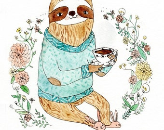 Sloth Sipping Tea in Bunny Slippers. Watercolor print.