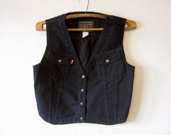 Navy Blue Denim Waistcoat Women Western Country Metal Buttons Romantic Medium Size Vest 495
