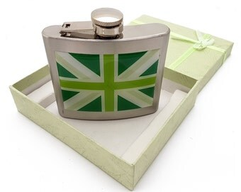 United Kingdom Union Jack Hip Flask in Stainless Steel with Green Shades Flag