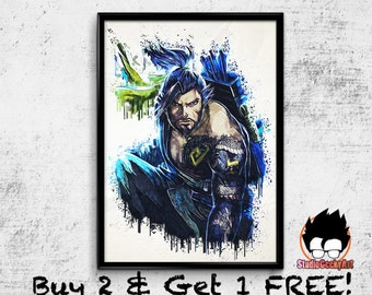 Hanzo Watercolor Art Print, Overwatch Poster on Archival Matte Paper or Cotton Canvas