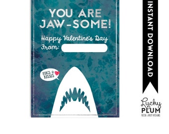 Jaws Valentine Printable Tag / Shark Valentine Printable Tag / Boy Valentine Printable / You Are Jaw Some / Goldfish Valentine Tag
