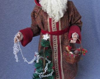 Handmade Santa - Old World Father Christmas- OOAK Sculpted Santa Claus by Nonna's Santas- Merry Christmas- TisThe Season