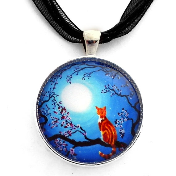 Orange Tabby Cat Zen Cherry Blossoms Blue Moon Handmade Art Jewelry