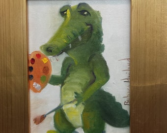 Gator Artist Cartoon Figure framed art for children.daycare