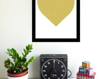 Screenprint Minimalist Heart of Gold - Modern Metallic Gold Silkscreen Print - Graphic Wall Art Gold Heart Art Print - Wall Decor