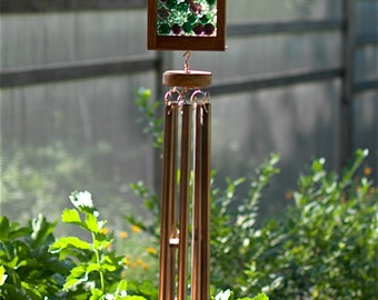 Copper Wind Chime, Green, Lilac  Glass Suncatacher Windchimes