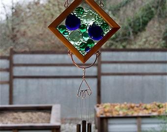 Glass, Cedar, Copper, Antiqued Brass Wind Chime Suncatcher
