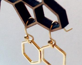 Hexagon, Earrings in Gold