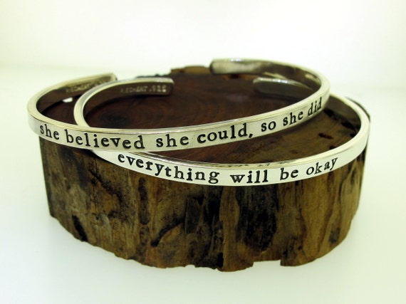 Custom Bracelet, Thick but Thin Style, personalized quote jewelry, custom made cuff, silver cuff bracelet, inspirational quote bracelet