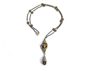 Ossuary Relic BAT SKULL Necklace Genuine Skull Black Enamel Antique Art Deco Watch Case Black Diamond Czech Glass Silver