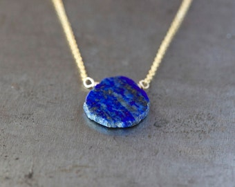 Lapis Slice Necklace, Lapis Lazuli Necklace, Delicate Gem Pendant, Layering Jewelry, Something Blue, 14k Gold Filled Chain, Handmade Jewelry