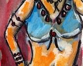 Belly Dancer, Original Painting, Blue Costume, Dancer, Tribal Style, Belly Dancing, Winjimir, Painting on Paper, Sisterhood, Dancing, Music