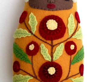 Swaddled Sleeping Flower Folk Art Baby wool doll