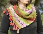Dancing marguerites Shawlette - Crochet pattern in pdf - Easy stunning sideways shawl - Any yarn, any gauge