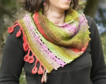 Dancing marguerites Shawl - Crochet pattern in pdf - Easy stunning sideways shawl - Any yarn, any gauge