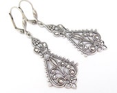 Art Nouveau Earrings, Chandelier Earrings, Bohemian Boho Steampunk, Wedding Jewelry, Bridal Earrings, Deco Moroccan, Antiqued Silver Plated