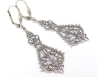 Art Nouveau Earrings, Chandelier Earrings, Bohemian Boho Steampunk, Wedding Jewelry, Bridal Earrings, Deco Moroccan, Antiqued Silver Plated