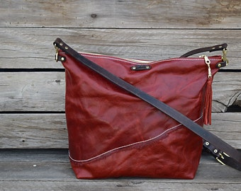 Red Leather CrossBody Purse - Fold Over Clutch / Red Leather Bag / Feral Empire