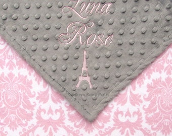 Paris Baby Blanket , Baby Girl Blanket , Pink Paris Eiffel Tower , Personalized Baby Blanket , Choose Your Option - Eiffel Tower is Optional