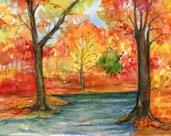 Original Autumn Landscape Watercolor  Painting, Fall leaves and colors decor, SharonFosterArt