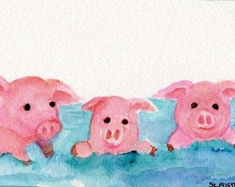 Pigs watercolor painting original, cute piggies swimming, watercolor painting of pigs, Pink Pig Art, pigs in ocean