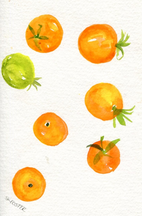 Tomatoes Watercolor Painting, Sun gold painting, Original 4 x 6 inches, Sungold Cherry watercolor, kitchen art, food illustration
