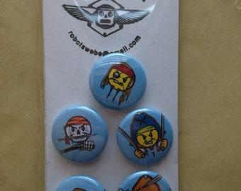 A set of (5) 1 inch Pirate Emoji buttons