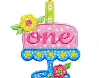 Birthday Cake Applique, First Birthday Applique, 1st Birthday Applique, Birthday Cake Design Machine Embroidery Design, Instant Download