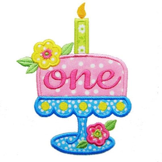 Birthday Cake Applique First Birthday Applique 1st Birthday
