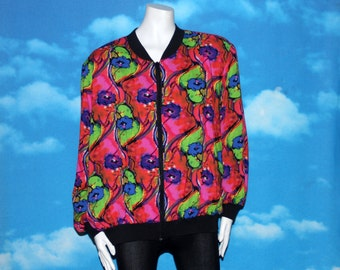 Bright Abstract Floral Bomber Jacket Size 24 Vintage 1990s