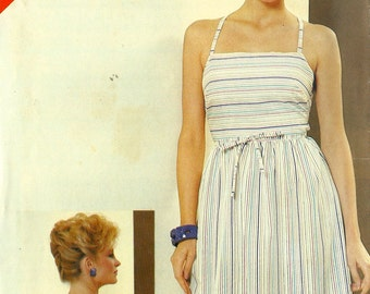 See & Sew 5147 - Vintage 1980s SUNDRESS with CRISS-CROSS Back - Sewing Pattern - Sizes 12-14-16 - 34-36-38 Bust - Uncut