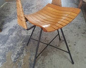 MId Century Retro Arthur Umanoff Swivel Desk Chair with Wrought Iron Legs Wood Slatted Seat