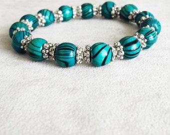 Turquoise wood silver bracelet for men, gift for him, beaded stackable bracelet, men's jewelry, boho stacking bracelets for him