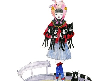 A4 + A5 Print: Crazy Cat Lady with Six Cats [Signed Giclee Art print in A4 A5]